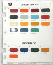 1969 MACK TRUCK AND KENWORTH ACME COLOR PAINT CHIP CHART ORIGINAL