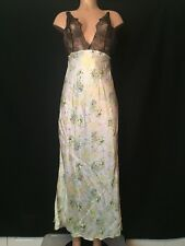 VICTORIAS SECRET DESIGNER COLLECTION Long Floral Silk Lace Nightgown M Lingerie