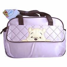 "Disney ""Peeking Pooh"" Baby Quilted Light Pink Tote Nappy Diaper Bag Girls NEW"