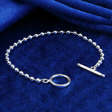 A865 GENUINE REAL 925 STERLING SILVER SF LADIES BEAD TBAR STYLE BRACELET BANGLE