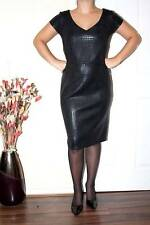 SEXY BLACK SHINY LEATHER LOOK TIGHT WIGGLE PENCIL HOBBLE DRESS size 18