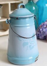 Vintage French Enamel Milk Pot Carrier with Lid & Handle ~ Blue w/Relief Design