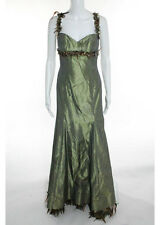 RENE RUIZ Green Brown Feather Sequin Detail Full Length A Line Gown Sz S