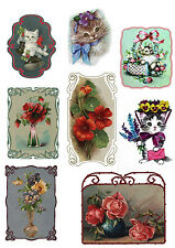 """Stickers (8 pics 2.5""""x3.5"""" each) FLONZ 441-0142 Vintage Kitten Pussy and Flowers"""