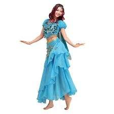 Belly Dance Costume Set Shiny Bells Top & 3 Layers Skirt &Head Veil & Hip Scarf