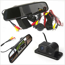 Car Reverse Backup HD Camera &Radar Alarm System+Rearview Mirror Display Monitor