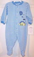 NWT Carter's Infant Boy's Blue Striped Dinosaur Terry Footsie Sleeper, 9 Mos.