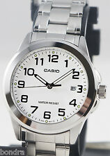 Casio MTP1215A-7B2 Men's Analog Watch Steel Band Classic White New with Date