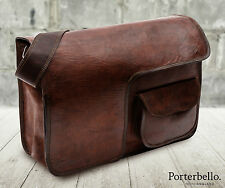 Large Brown Vintage Style Handcrafted Leather Satchel Messenger Laptop Bag