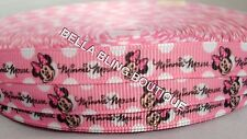 "2 M PINK MINNIE MOUSE GROSGRAIN RIBBON 9MM 3/8"" HAIR BOW CAKE CARD BIRTHDAY"