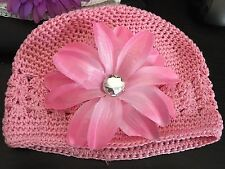 Young Girls Crocheted Pink Beanie Hat with Pink clip-on Flower NEW NWOT