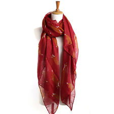FOX Print Scarf Red Casual Animal Fashion Scarves Large Shawl Brown Wrap