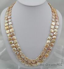 """50""""11mm pink square freshwater pearl necklace"""