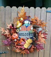 """22"""" FALL WREATH WITH WELCOME SIGN, BERRIES, LEAVES, PUMPKINS, GOURDS, CONES"""