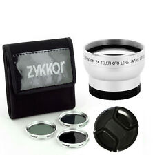 37MM FILTERS ND2 ND4 ND8,CAP, TELE 2X LENS for Panasonic LUMIX DMC-GX1 Camera,US