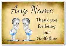 Vintage Baby Twin Boys Godfather Thank You  Personalised Magnet