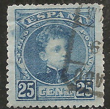 "Spain Stamp - Scott #279/A35 25c Blue ""King Alfonso XIII"" Used/H 1901"