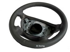 FITS SMART FORTWO W450 100%REAL DARK GREY LEATHER STEERING WHEEL COVER 1998-2006