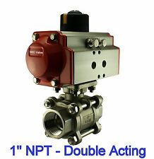 """1"""" Inch Pneumatic Double Acting Air Return Air Actuated Stainless Ball Valve"""