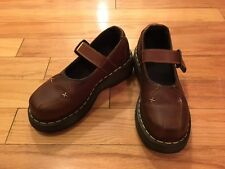 NEW DR. DOC MARTENS Mary Jane ZOE One Buckle Strap Brown Leather Shoes US 5