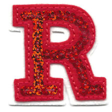 "Letters-Red Sequin  2"" Letter ""R"" - Iron On Embroidered Applique"