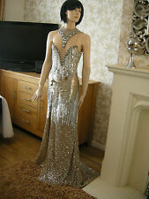 6 A STAR IS BORN EMBELLISHED ILLUSION FISHTAIL MAXI DRESS JEWELS VINTAGE TRAIL