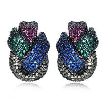 Designer Micro Pave Multi Coloured Pink Blue Green Cubic Zirconia Stud Earrings