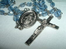 VINTAGE CLEAR BLUE LUCITE VIRGIN MARY CATHOLIC ROSARY IN GIFT BOX