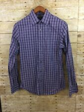 Banana Republic Non Iron Slim Fit Button Front Purple Plaid Shirt Mens Small EUC