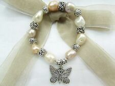 "10mm Fresh Water Pearl with Butterfly Charm 6.75"" Stretch Bracelet US Seller!!"