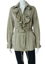 Ralph Lauren Tan Long Sleeve Ruffle Collar Gold Tone Belted Rain Jacket Size 4
