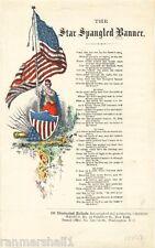 1814 Star Spangled Banner #2 Frances Scott Key Vintage Song Sheet Music Poster