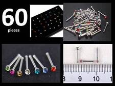 60 X Tiny Surgical Steel Nose Studs Ring Mixed Colours Rhinestone Body Piercing
