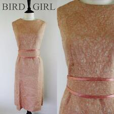 ELEGANT 1960S VINTAGE PINK BROCADE MOD MONROE WIGGLE COCKTAIL DRESS 14-16