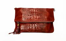 Italian Suede Leather Burgundy Moc Croc Flap Over Clutch Bag