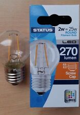 10 x 2w LED Round Clear Filament Light Bulb Lamp ES Screw In E27 25w Great Value