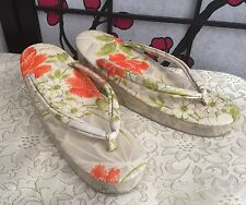 Japanese Zori Geta Women 5 / 5.5 SandalsThongs Dress Shoes Wedge Gorgeous Floral