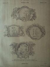 PLANCHE  PAR MECHIN 19 EME DICTIONNAIRE D ART ORNEMENTAL MEDAILLON LOUIS XVI
