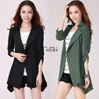 Summer Spring Women Casual Slim Blazer Trench Coat Long Jacket Outwear TXWD