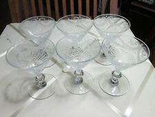 SET 6 ANTIQUE CUT CRYSTAL Etched Swags GLASS STEM Wine Glasses