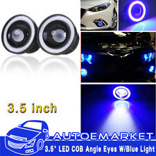 2pcs 3.5'' Car Head Lamp Projector LED Fog Light Blue COB Halo Angel Eye Ring