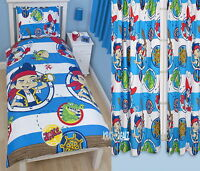 """Jake & Neverland Pirates Doubloons Single Duvet Cover & 72"""" Curtains Set"""