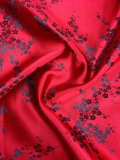 Brocade Chinese floral blossom oriental asian  Red / Black  Fabric