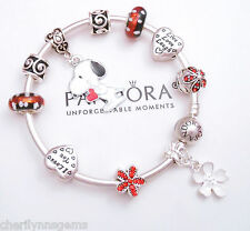 Authentic Pandora Silver Bangle Bracelet With European Charms Snoopy Red Love
