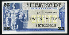 Series 692 25 Twenty Five Cents Mpc Military Payment Certificate Gem Unc
