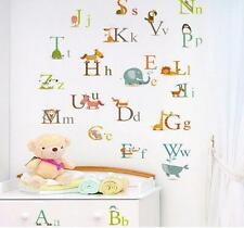 60*90cm 26 Animals Alphabet Educational Wall Stickers Kids Nursery Vinyl Decal
