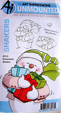 Snowman Shaker Christmas Rubber Cling Stamp Set by Art Impressions 4514 NEW!