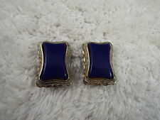 Silvertone Blue Thermoset Clip-on Earrings (D45)