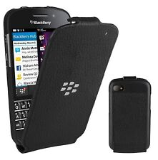 Original Blackberry De Cuero Flip Shell Funda para Blackberry Q10-Negro