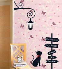ROAD SIGN LAMP & CAT WALL DECOR MURAL ART STICKER DECAL